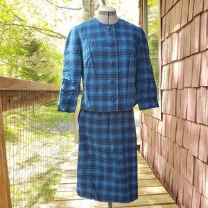 Vintage 1960s Blue Plaid Wool Skirt Set
